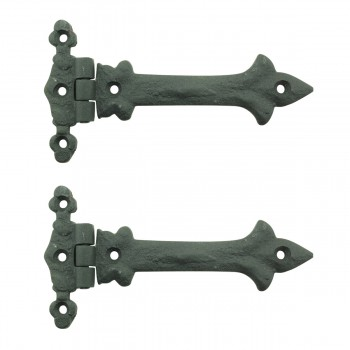5 Inch Black Wrought Iron Cabinet Hinge Strap Southern Charm Barn Pack of 2