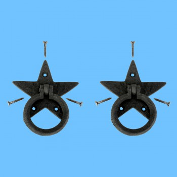 <PRE>Cabinet Drawer Ring Pull Black Iron Star Design Pack of 2</PRE>zoom2
