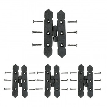 Cabinet H Hinge Black Iron Spear Tip 4 H Screws Included Set of 3 Iron Cabinet H Hinge Iron H Hinge Black Cabinet Hinge
