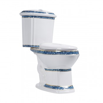 Elongated Two Piece Dual Flush Bathroom Toilet with No Slam Seat Blue and White Two Piece TwoPiece 2piece Dual Duel Top of Tank Button Push High Low HighLow Flush Volume 1.28 GPF California ADA Cupc Watersense Compliant