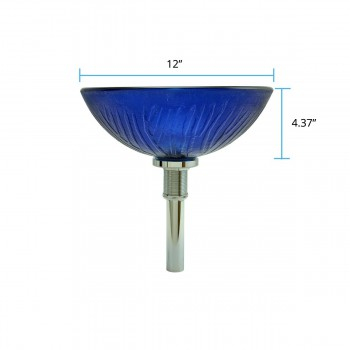 "spec-<PRE>Frosty 12"" Blue Tempered Glass Vessel Round Bathroom Sink With Chrome Pop-Up Drain Seconds Imperfect </PRE>"