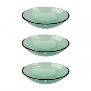 3 Single Layer Green Glass Tourmaline Green Glass Vessel Sink Oval