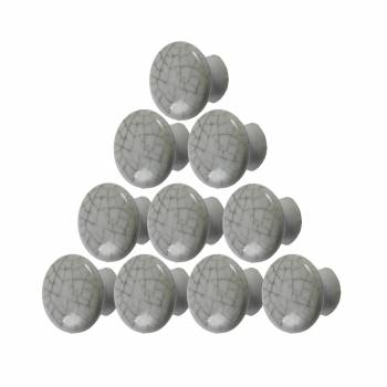 10 Cabinet Knobs Crazed Grayish Porcelain Pull 1 12 D
