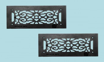 "<PRE>2 Floor Heat Register Louver Vent Victorian Cast 4inch x 12"" Duct </PRE>zoom2"