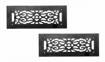"<PRE>2 Floor Heat Register Louver Vent Victorian Cast 4inch x 12"" Duct </PRE>zoom1"