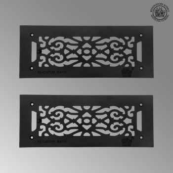 2 Heat Air Grille Cast Victorian 5.5 x 14 Overall Heat Register Floor Register Wall Registers