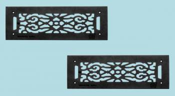 "<PRE>2 Grilles Black Cast Aluminum 5-1/2inch x 16"" Set of 2 </PRE>zoom2"