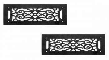 2 Grilles Black Cast Aluminum 512 x 16 Set of 2 Heat Register Floor Register Wall Registers
