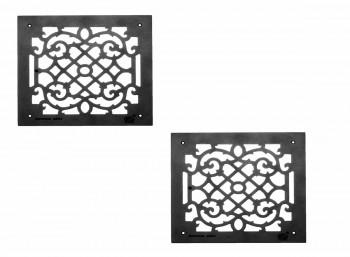 2 Grille Black Aluminum Air Grille Cast Aluminum w/ Logo Overall 14 x 14