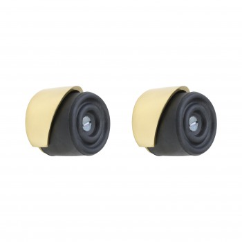 <PRE>2 Door Bumpers Round Black Brass Floor/Wall Mount </PRE>zoom1