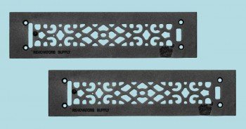 <PRE>2 Heat Air Grille Cast Victorian Overall 3 1/2 x 14 </PRE>zoom2