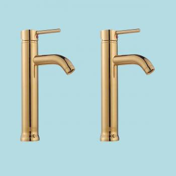 2 Bathroom Faucet Gold PVD Brass Round Sinlge Hole 1 Handle Faucets Bathroom Faucets Single Hole Faucets