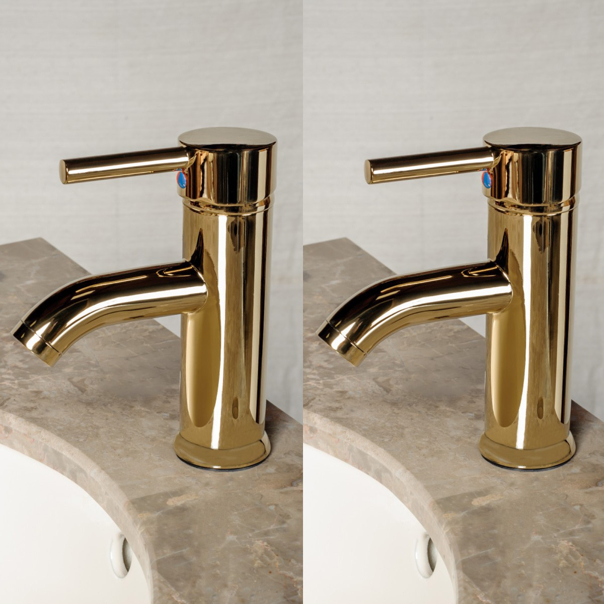 2 Bathroom Faucet Gold PVD Brass Round Single Hole 1 Handle Set of 2