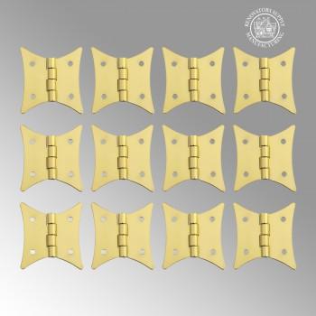 <PRE>12 Cabinet Hinges Bright Brass Hinge 2 3/8&quot; x 2&quot; </PRE>