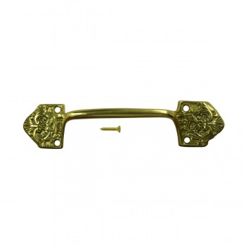 <PRE>6 Ornate Cabinet Pull Drawer Handle Heavy Solid Brass  </PRE>zoom8