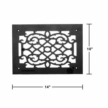 "spec-<PRE>2 Heat Air Grille Cast Victorian Overall 10"" x 14"" </PRE>"