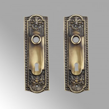 Door Back Plate Antique Brass Beaded With Keyhole 7 1/4