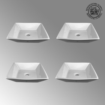 spec-<PRE>4 Square White Vessel Sink Grade A Vitreous China No Overflow  </PRE>
