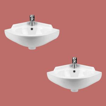 <PRE>2 Small Corner Wall Mount Sink Bathroom Basin Soap Dishes Set of 2</PRE>zoom2
