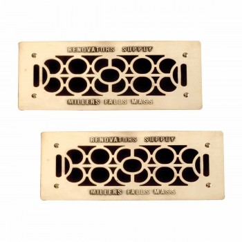 2 Floor Wall Heat Air Grill Vent Grate Solid Brass 4.75 x 11 Heat Register Floor Register Wall Registers