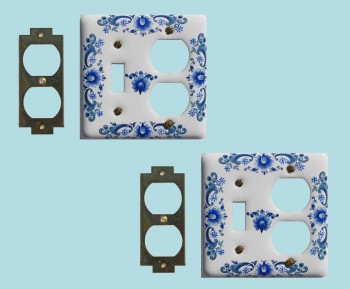 spec-<PRE>2 Vintage Switch Plate White Delft Porcelain Toggle/Outlet </PRE>