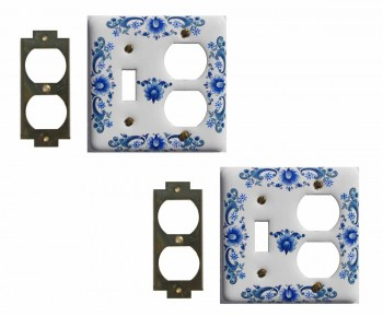 2 White Delft Porcelain Toggle/Outlet switch plate