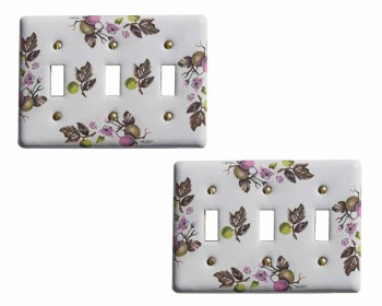 2 White Porcelain Porcelain Apple Tree Triple Toggle Switch Plate