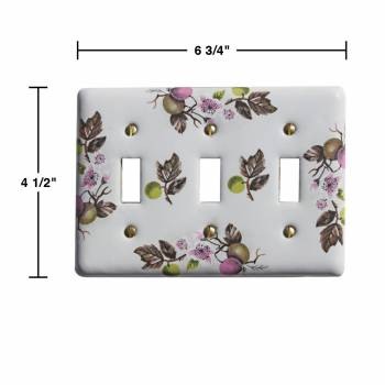 spec-<PRE>2 Switch Plate White Porcelain Apple Tree 3 Toggle Switch </PRE>