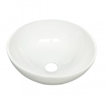 Renovators Supply Round Bathroom Countertop Vessel Sink in White 33480grid