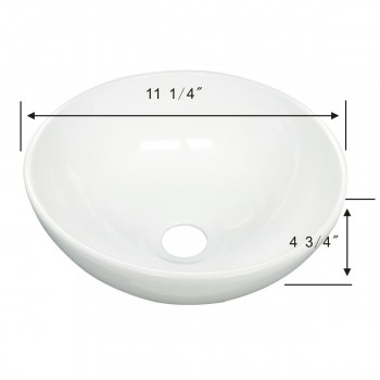 spec-<PRE>White Small Vessel Sink Mini Above Counter Round Bathroom Sink 11.25 inches Dia.</PRE>