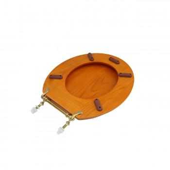 Round Toilet Seat Hardwood Golden Oak Brass Hinge Set of 2 wooden toilet seats wood toilet seats wood toilet seat