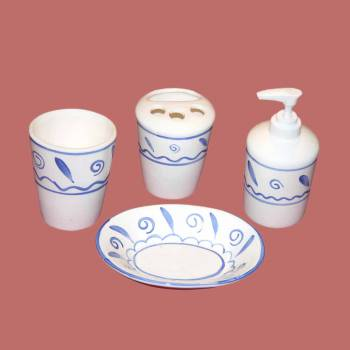 Vintage Porcelain Bath Set Soap Dish Dispenser Tumbler Ceramic Bathroom Accessory Set Ceramic Bathroom Accessory Sets Ceramic Bath Accessory Set