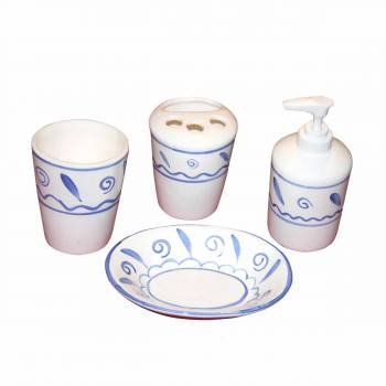 <PRE>Vintage China Bath Set Soap Dish Dispenser Tumbler </PRE>