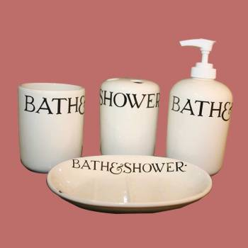 <PRE>Vintage China Bath Set Soap Dish Dispenser Tumbler </PRE>zoom2