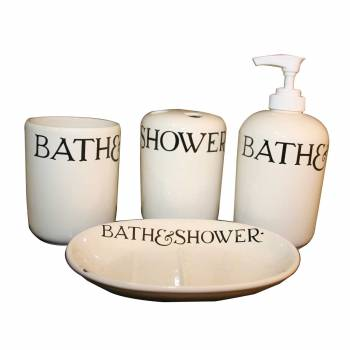 Vintage Ceramic Bath Set Soap Dish Dispenser and Tumbler Ceramic Bathroom Accessory Set Tumbler, Holder Soap Trey Soap Dish Porcelain Cup Combo