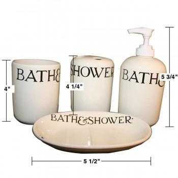 spec-<PRE>Vintage Ceramic Bath Set Soap Dish Dispenser and Tumbler </PRE>