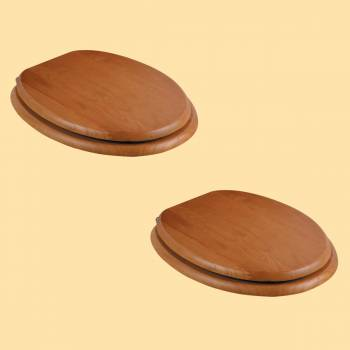 Elongated Toilet Seat Solid Wood Golden Oak Brass PVD Hinge Set of 2