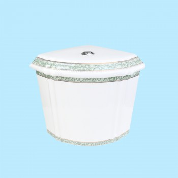 <PRE>Corner Toilet Tank Green Gold Painted White Vitreous China </PRE>zoom2