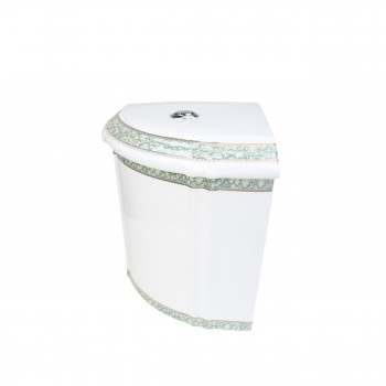 <PRE>Corner Toilet Tank Green Gold Painted White Vitreous China </PRE>zoom3