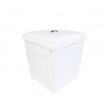 <PRE>Corner Toilet Tank Green Gold Painted White Vitreous China </PRE>zoom4