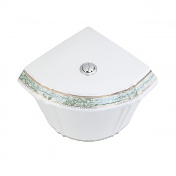 <PRE>Corner Toilet Tank Green Gold Painted White Vitreous China </PRE>zoom5