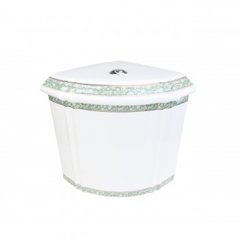 Corner Toilet Tank Green Gold Painted White Vitreous China 33747grid