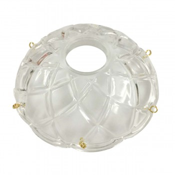 <PRE>Vintage Bobeche Clear Glass 6 Prism Hole Scallop 4inch D </PRE>zoom5