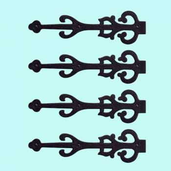 <PRE>4 Dummy Strap Hinges Black Wrought Iron Decorative </PRE>zoom2