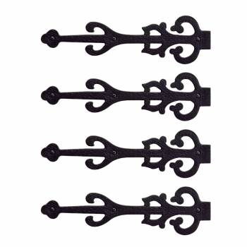 4 Dummy Strap Hinges Black Wrought Iron Decorative