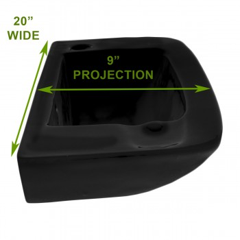 spec-<PRE>Wall Mount Bathroom Sink Black Grade A China With Overflow </PRE>