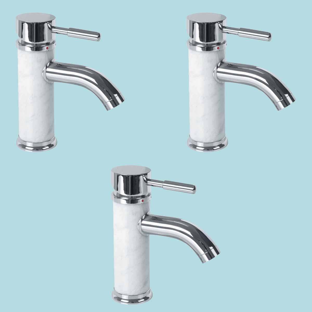 3 Bathroom White Marble Faucet Chrome Single Hole 1 Handle