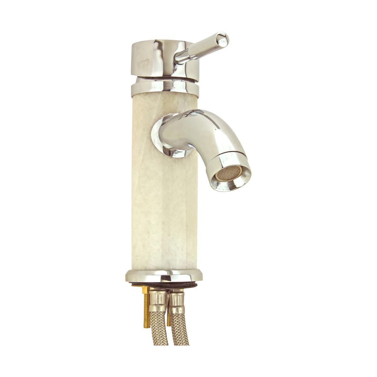 3 Bathroom White Marble Faucet Chrome Single Hole 1 Handle Faucets Bathroom Faucets Single Hole Faucets