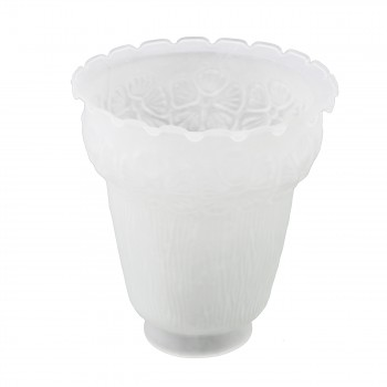 <PRE> Replacement Glass Lamp Shade Frosted White 2 1/4inch Fitter Flower Bell Queen Anne Design</PRE>zoom3