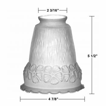 "spec-<PRE>4 Lamp Shade Frosted Glass Flowers Bell 5 1/2"" H 2 1/4"" Fitter</PRE>"